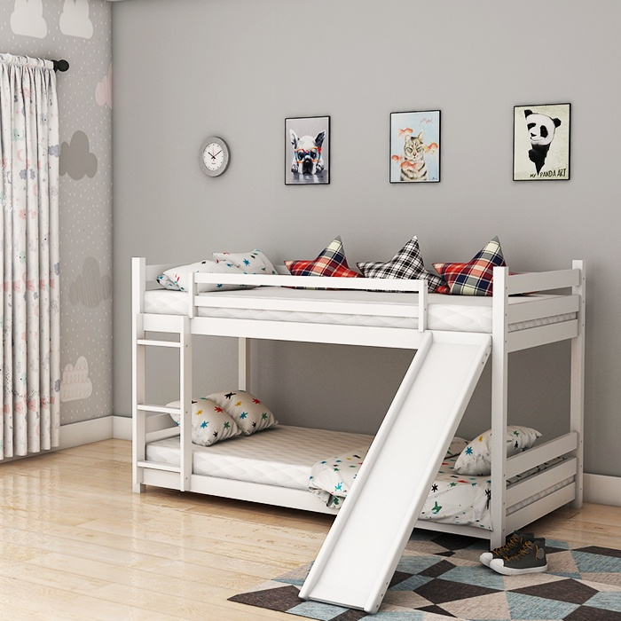 Slinger White Swing Bunk Beds With Slide And Stairs