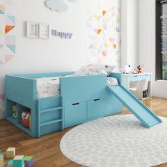 blue slide loft bed