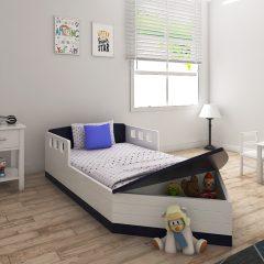 black & white toddler boat bed
