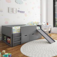 grey slide loft bed