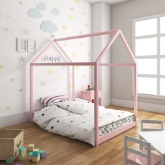 pink tent house bed