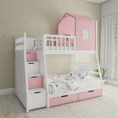pink hut shaped bunk bed