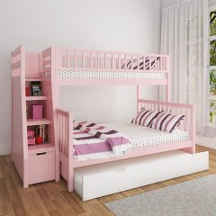 pink bunk bed with trundle