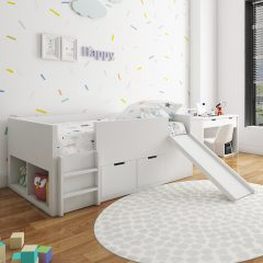 white slide loft bed