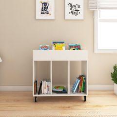 white book storage trolley