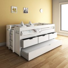 Vanilla White Captain Trundle Bunk Bed with Drawer Storage