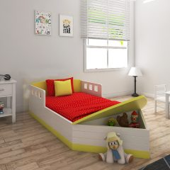 white & yellow toddler boat bed