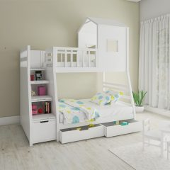 white hut shaped bunk bed