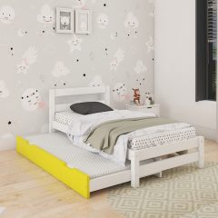 white & yellow bed with trundle